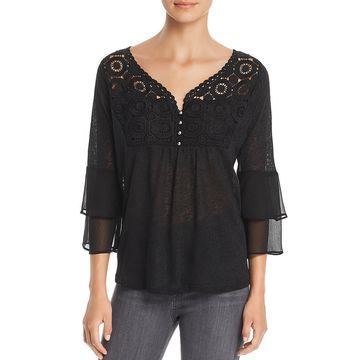 August Silk Womens Lace Inset Bell Sleeves Pullover Top