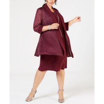 R & M Richards Plus Size Shift Dress & Metallic Jacket