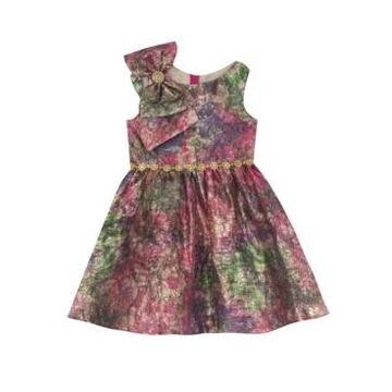Rare Editions Little Girl Printed Jacquard Dress With Bow