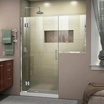 DreamLine Unidoor-X 72-in H x 53-in to 53-1/2-in W Frameless Hinged Chrome Shower Door (Clear Glass) | D1232436-01