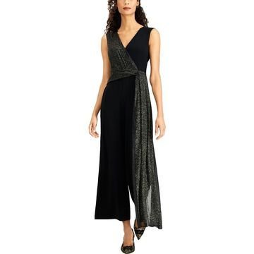 Connected Apparel Womens Petites Party Metallic Jumpsuit