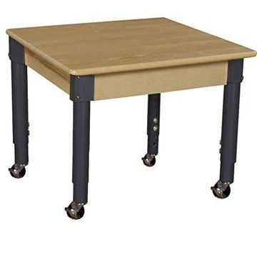 ''Wood Designs WD824A1217C6 Mobile 24'''' Square Hardwood Table with 14''''-19'''' Legs''