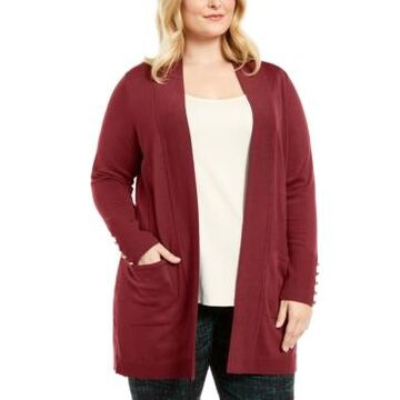 Jm Collection Plus Size Button-Sleeve Flyaway Cardigan Sweater, Created for Macy's