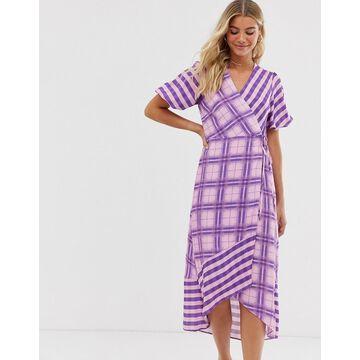 Miss Selfridge wrap midi dress in lilac check
