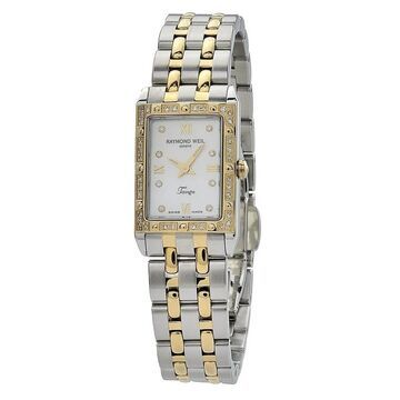 Raymond Weil Tango Women's Rectangular Case Mother of Pearl Dial Watch (Swiss Quartz - Female - 50 Meters - Analog - White - Pushbutton - Two-Tone -