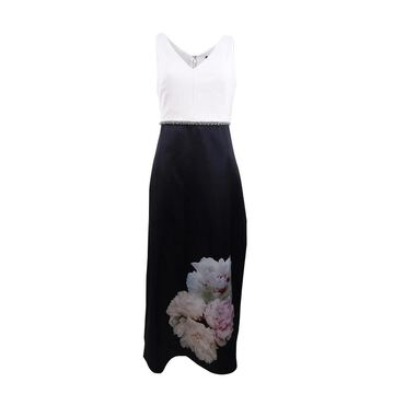 SL Fashions Women's Placed-Floral Mikado Satin Gown - Cream/Black