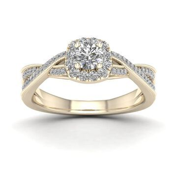 De Couer 1/2ct TDW Diamond Twist Shank Halo Ring - Yellow