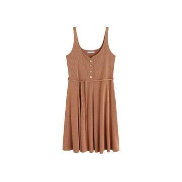 Violeta BY MANGO - Ribbed buttonned dress caramel - 16 - Plus sizes