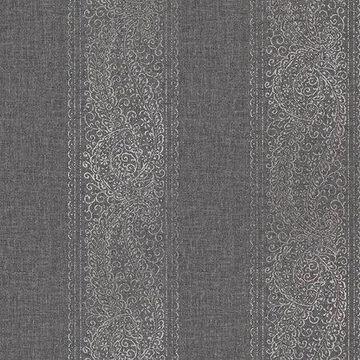Kenneth James Arcades Black Paisley Stripe Wallpaper