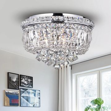 Chimory Chrome and Crystal 14-inch Round Ceiling Lamp (Chrome 14-inch Round Ceiling Lamp)