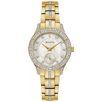 Bulova Women's Gold-Tone Stainless Steel Crystal Bracelet Watch - 98L283