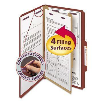 Smead Pressboard Classification Folders Self Tab Legal Four-Section Red 10/Box