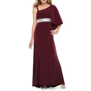 R & M Richards One Shoulder Sleeveless Embellished Evening Gown