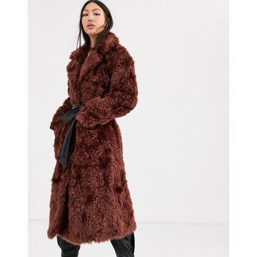 ASOS WHITE faux fur belted coat-Brown