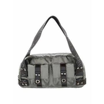 Leather Trimmed Handle Bag Grey