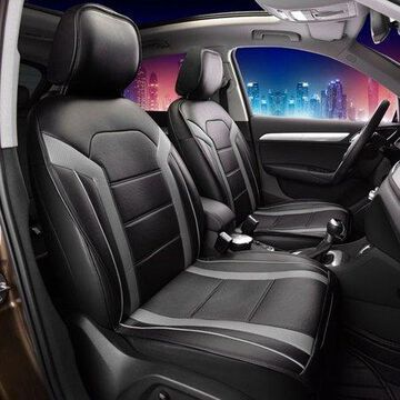 FH Group Half Set Futuristic Leatherette Gray and Black Front Seat Cushions