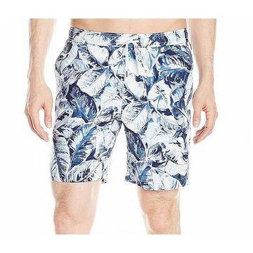 Onia Mens Blue Trunks Size Large L Elastic Waist Leaf Print Swim