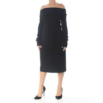 NARCISO RODRIGUEZ Womens Black Long Sleeve Below The Knee Dress Size: 18