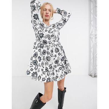Glamorous mini tiered smock dress with neck tie in black and white floral-Multi