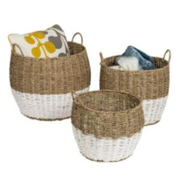 Honey Can Do Set of 3 Round Nesting Seagrass Baskets with Handles