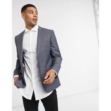Farah gray check slim fit suit jacket-Grey