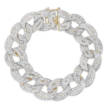 Finesque Silver 1ct TDW Diamond Chain Link Bracelet