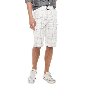 Men's Urban Pipeline Belted Stretch Canvas Cargo Shorts, Size: 40, White