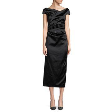 Roya High-Neck Cap-Sleeve Draped Midi Satin Cocktail Dress