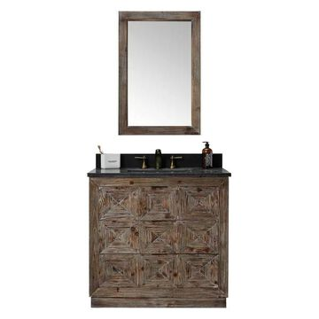 Driftwood Vanity Match With Black Moonstone Marble Top, 36