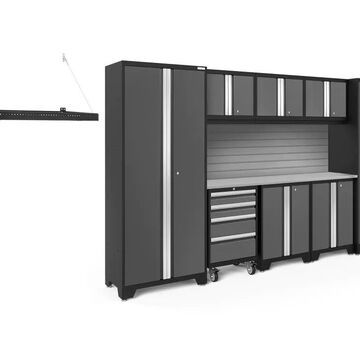 NewAge Products Bold Series 132-in W x 77.25-in H Charcoal Gray Steel Garage Storage System Stainless Steel | 50948