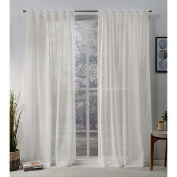 ATI Home Belgian Sheer Hidden Tab Top Curtain Panel Pair
