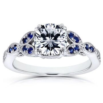 Annello by Kobelli 14k White Gold 1 1/3 Carats TGW Forever One Colorless Moissanite (DEF) with Diamond and Sapphire Accents Ring (8.5)