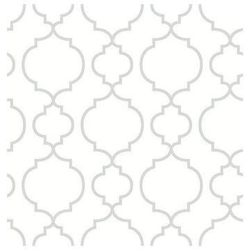 Brewster 2657-22259 Desiree White Quatrefoil Wallpaper