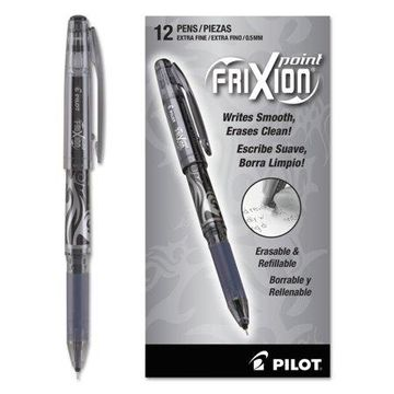 Pilot FriXion Point Erasable Gel Ink Stick Pen, Black Ink, .5mm, Dozen