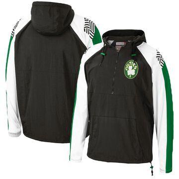 Men's Mitchell & Ness Black Boston Celtics Hardwood Classics Anorak Half-Zip Pullover Hoodie Windbreaker Jacket