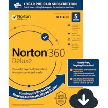 Norton 360 Deluxe for 5 Devices, Windows/Mac/Android/iOS, Download (21390623) | Quill