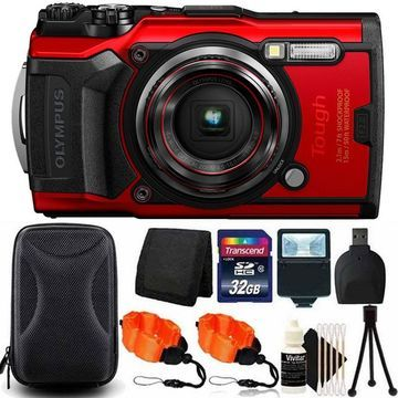 OLYMPUS Tough TG-6 Digital Camera Red with 32GB Card + Accessory Kit