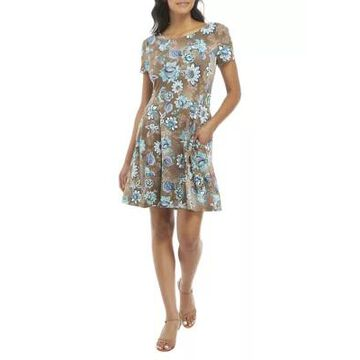 Connected Apparel Women's Short Sleeve Floral Fit And Flare Dress -