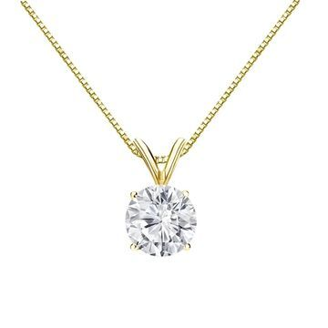 Auriya 1ctw Round Solitaire Diamond Necklace 18k Gold