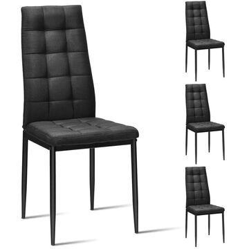 Goplus Set of 4 Contemporary/Modern Linen Upholstered Dining Side Chair (Metal Frame) in Black | OGY02500