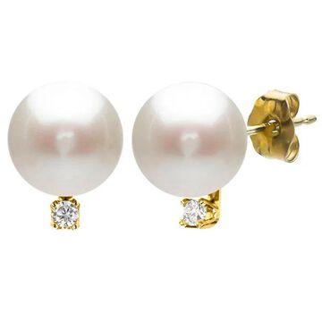 DaVonna 14k Yellow Gold 9-10mm Freshwater Pearl 0.06 Diamond Accent Earrings (Yellow - 9.5-10 MM - White - Yellow)