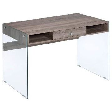 Writing Desk Acme Furniture Clear Oak Gray
