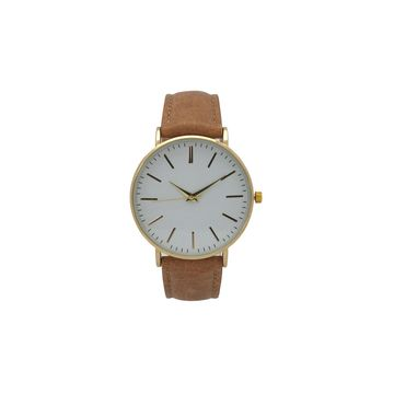 Olivia Pratt Womens Brown Leather Strap Watch-16674lightbrown