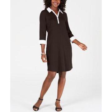 Karen Scott Petite Cotton Woven Collared Dress, Created for Macy's