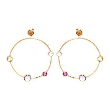 Marco Bicego Jaipur Color Multicolor Gemstones Textured 18K Yellow Gold Hoop Drop Earrings
