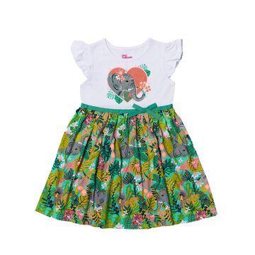Little Girls Flutter Sleeve All Over Print Tutu Dress