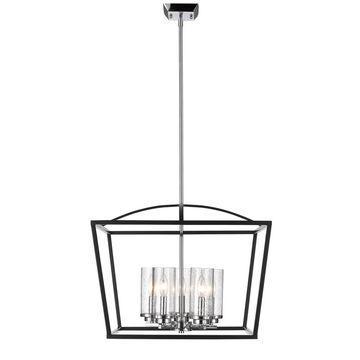 Golden Lighting Mercer Black Seeded Glass 5-light Chandelier