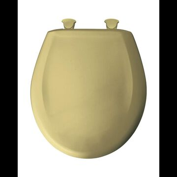 Bemis 200SLOWT Round Closed-Front Toilet Seat and Lid with Whisper-Close Easy-Clean & Change and STA-TITE Seat Fastening System Harvest Gold