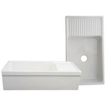 Whitehaus WHQD540-WHITE Large Quatro Alcove Reversible Fireclay Sink - White NEW