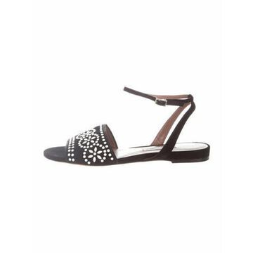 Suede Beaded Accents Sandals Black